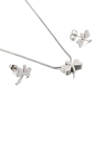 Glamorousky 銀色 簡約精緻蜻蜓316L鋼項鏈和耳釘套裝 60BC7ACF208B57GS_1