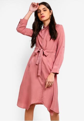 ZALORA pink Asymmetric Drawstring Shirt Dress A672FAAE1665B2GS_1
