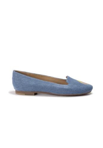 Shu Talk 藍色 LeccaLecca TWINS 狗狗臉牛仔布平底鞋 4878ASH3A827E6GS_1