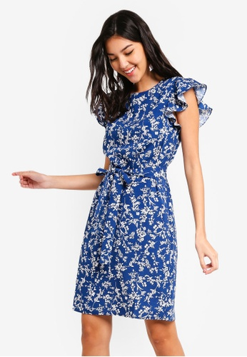 ZALORA blue Ruffle Sleeves Shift Dress 6A9FEAAE63686BGS_1