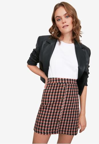 Trendyol orange High Waist Button Detail Pattern Skirt C3C31AAA2BFFEAGS_1