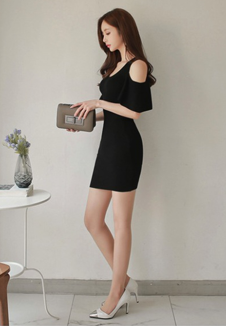 Off Waist Shoulder Repair dress Piece Black Sunnydaysweety New A060426 2018 Black One wEqXtIx
