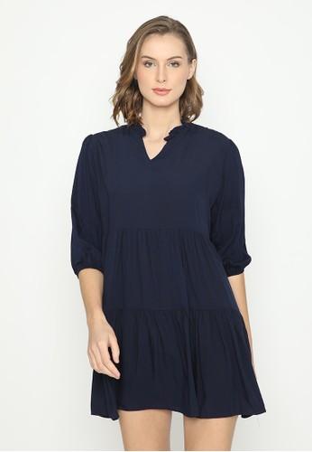 Mannequin blue Ruffle Rayon Dress 9426AAA2B04DCFGS_1