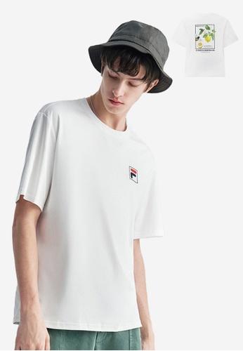 FILA white F-box Logo Dropped Shoulders Cotton T-shirt 7B087AAA32ABD9GS_1