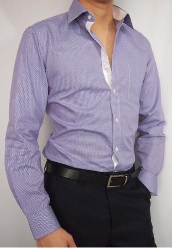 Max Rafael purple Purple Check Shirt with White Inner Collar/Cuff/Placket MA991AA11DOESG_1