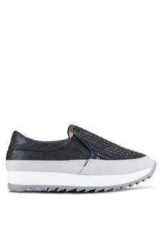 Crystal Korea Fashion 編織紋理皮革懶人鞋