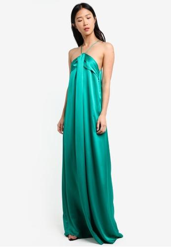 Mango green Satin Halter Dress MA193AA0RXR4MY_1