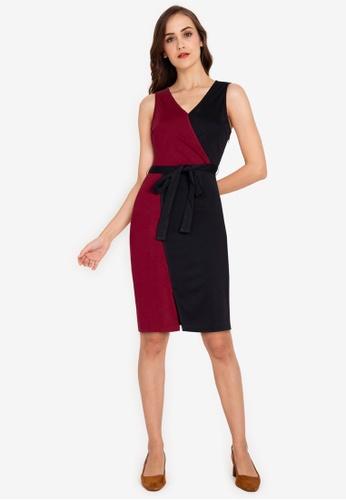ZALORA WORK multi Colourblock Wrap Dress 81529AA48FA859GS_1