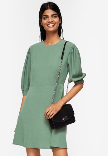 Mango green Puffed Sleeves Dress D438AAA5CEB92CGS_1