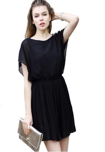 Sunnydaysweety black Black Pleated One Piece Dress K20042303 89BB3AADC933EBGS_1