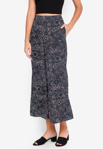 Glamorous navy Flower Wide Leg Trousers 41CFCAAE6D9A53GS_1