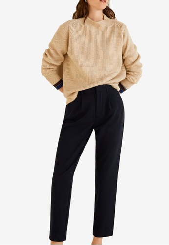 Mango navy Pleat Detail Trousers 82AD4AAA3610D4GS_1