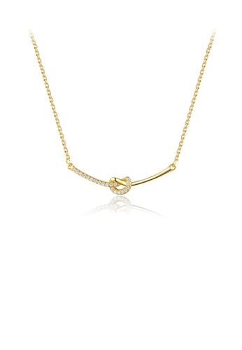 Glamorousky white 925 Sterling Silver Plated Gold Simple Creative Knotted Necklace with Cubic Zirconia 1B2E8AC8DF603CGS_1