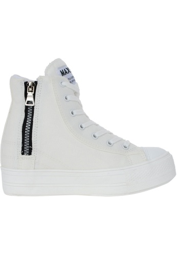 Maxstar white Maxstar Women's C2 7 Holes Zipper Hidden Heel Canvas High Top Sneakers US Women Size MA164SH45PSOSG_1