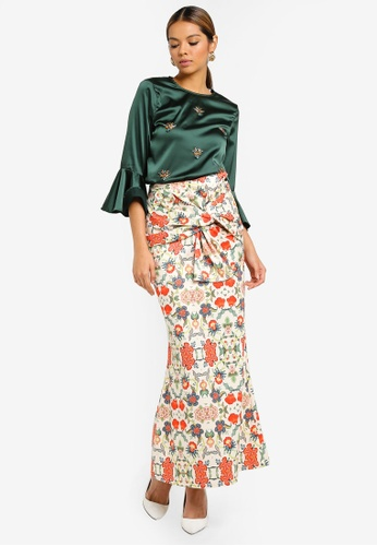 Beaded Blouse With Ribbon Skirt from Ezzati Amira in Multi
