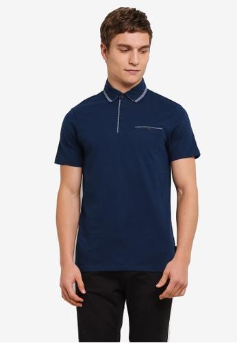 Burton Menswear London 藍色 休閒短袖POLO衫 BU964AA0S7F0MY_1