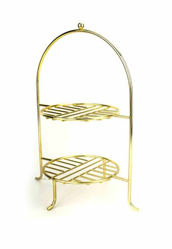 Slique gold Signature By Premium Metal Gold Electroplate 2-Tier Pasty Stand EAA4CHL3563616GS_1