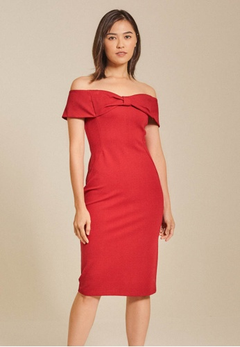 Dressing Paula red Off Shoulder Roma Knit Dress 0A77AAA698CE04GS_1