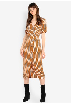 217ce5668443 River Island brown and multi Stripe Print Button Front Midi Dress  27E42AAA8016B9GS_1