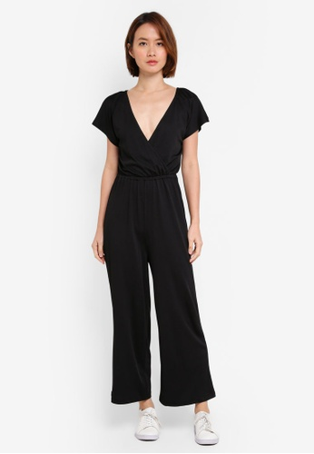Supre black Short Sleeve Wrap Jumpsuit 322A6AA8027010GS_1