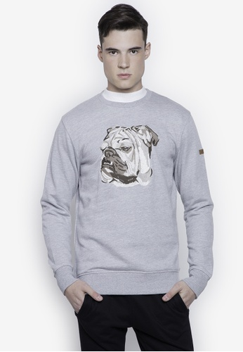 Springfield grey Bulldog Embroidered Box Sweatshirt 0437AAA361DDB5GS_1