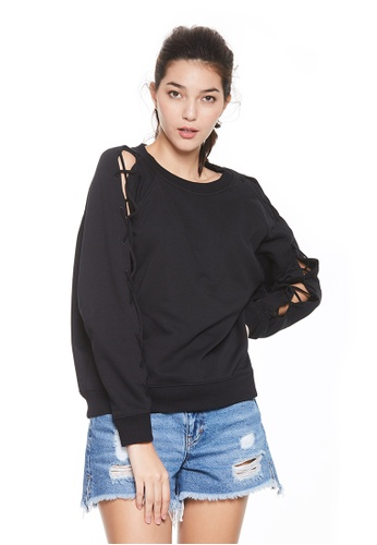 Sisley black Ruffled Sleeves Sweatshirt BB466AAD3D0576GS_1