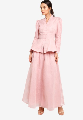 Zalia pink Puff Sleeve Kebaya With Full Skirt 18454AADBC30FDGS_1
