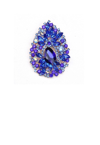 Glamorousky blue Fashion and Elegant Plated Gold Water Drop-shaped Pattern Brooch with Blue Cubic Zirconia BCA06ACF54CC8DGS_1