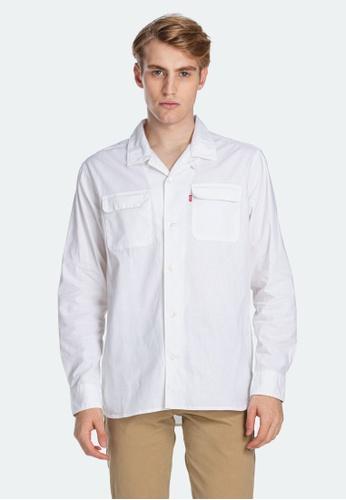 Levi's white Levi's Long Sleeve Oversized Safari Shirt Men 85489-0001 DCD8EAA5370DB6GS_1