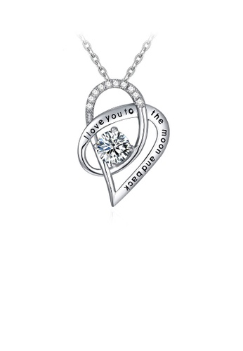 Glamorousky white 925 Sterling Silver Heart Pendant with White Cubic Zircon and Necklace 5310EACA443908GS_1