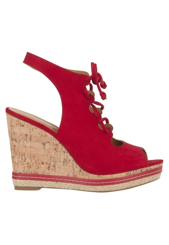 Beira Rio red Cross Strap Peep Toe Cork Wedge VI997SH41ETYHK_1