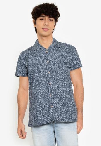 Springfield blue Floral Print Short-Sleeved Shirt B3A1FAAD829159GS_1
