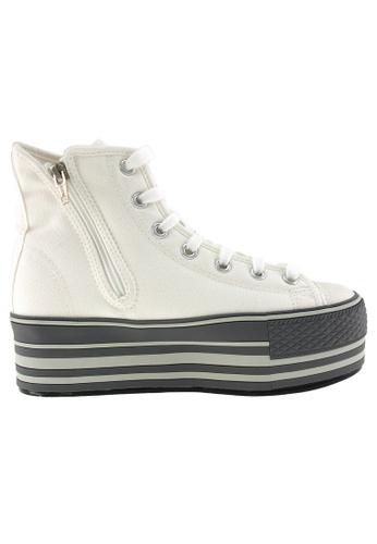 Maxstar Maxstar Women's C57 7 Holes Zipper Line Platform Canvas High Top Sneakers US Women Size MA164SH47PWISG_1