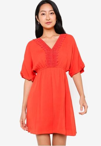ZALORA BASICS orange Lace Trim Drawstring Dress CE00FAAA10D504GS_1