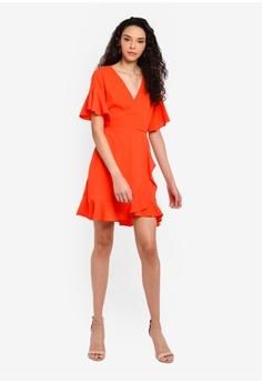 a296e1aea543 AX Paris Frill Detail Wrap Dress S$ 68.90. Sizes 8 10 12 14