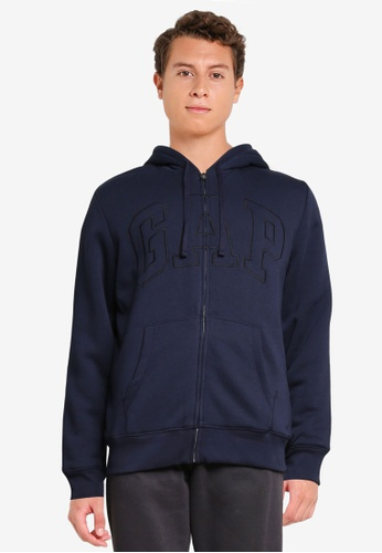 GAP navy Logo Sherpa Hoodie 6E9AFAA7EBD4B4GS_1