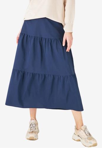 Trendyol 藍色 Tiered Maxi Skirt 37B79AAF135F06GS_1