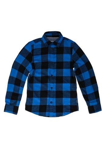Jack & Jones blue Boys Peached Gingham Shirt F3C40KA662BA01GS_1