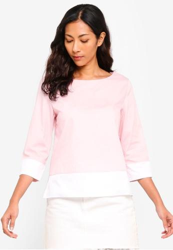 ZALORA BASICS pink Basic Contrast Hem Top 2B756AAA7BF353GS_1