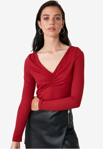 Trendyol red Long Sleeve Gathered Knitted Blouse AE953AA35D2255GS_1