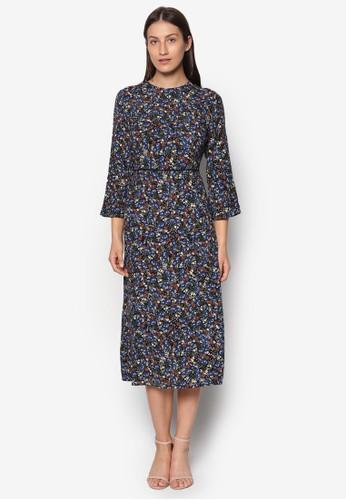 印花七分袖及膝連esprit台灣身裙, 服飾, 洋裝