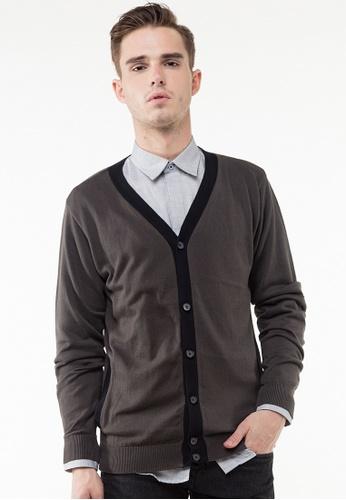 The Executive black Grey Cardigan TH044AA96QPBMY_1