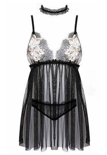 SMROCCO black Eloise Lingerie Nightie Dress PM8068 (Black) 7AB0DAA736EC8FGS_1