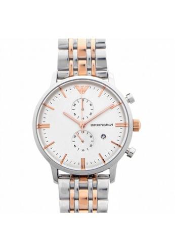 Emporio Armani [NEW] Emporio Armani Classic Chronograph Quartz White Dial Two-Tone Men's Watch AR0399 2CEA5ACB96EED6GS_1