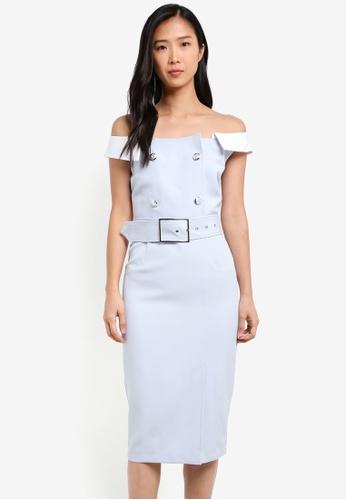 KLEEaisons white Wide Lapel Shoulder Belted Dress KL492AA0RVPBMY_1