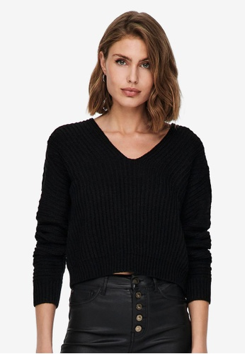 JACQUELINE DE YONG black Justy Long Sleeves Short Pullover 32763AA72F79B7GS_1