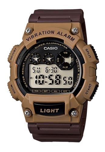 Casio brown Casio Vibration Alarm - Jam Tangan Pria - Brown Resin Strap - W-735H-5AVDF CA347AC92LLJID_1