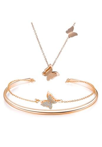 YOUNIQ YOUNIQ 18K Rosegold Butterfly Necklace & Bracelet Cuff Bangle Set DA4DDAC2213B53GS_1