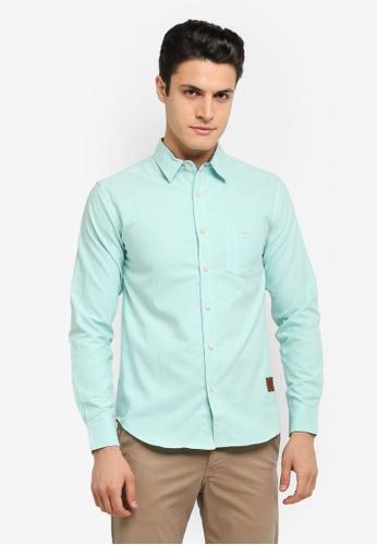 Volkswagen 綠色 Volkswagen Cotton Long Sleeve Woven Shirt VO089AA0SKGNMY_1