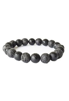Lava Stone Tibetan Six Words Mantra Bracelet